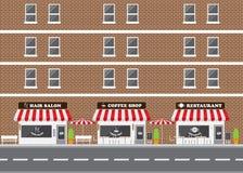 Fasad för hårsalong, restaurang- och coffee shop Royaltyfri Foto