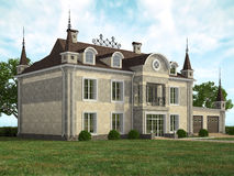 Fasad of the modern house in landscape Royalty Free Stock Image