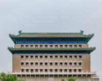Fasada łuczniczy wierza Zhengyang brama w centrum miasta Pekin, Chiny zdjęcia royalty free