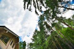 Fasada drewniany dom Zdjęcia Royalty Free