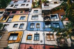 Fasada Hundertwasser dom w Wiedeń, Austria Zdjęcia Stock