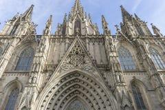 Fasada katedra Barcelona lokalizował w starej części Obrazy Stock