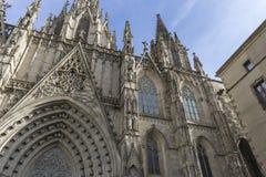 Fasada katedra Barcelona lokalizował w starej części Obrazy Royalty Free