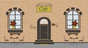 Fasada kawiarnia na ceglanym tle ilustracji