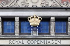 Fasada Królewski Kopenhaga sklep w Dani obraz stock