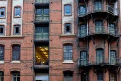Fasada magazyn w Speicherstadt, Hamburg, Niemcy Zdjęcie Stock