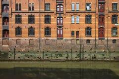 Fasada magazyny w Hamburskim ` s Speicherstadt Zdjęcie Stock