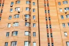 fasada miastowy ceglany kondygnacja dom zdjęcie royalty free