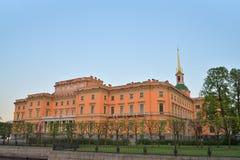 Fasada Mikhailovsky kasztel i rzeka (inżyniery) Obrazy Royalty Free
