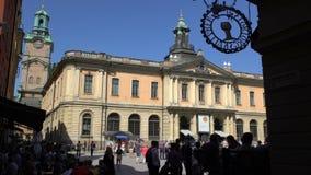 Fasada Nobel muzeum w starym grodzkim Galma Stan w Sztokholm Czasu upływ zbiory wideo