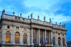 Fasada Palazzo Madama w Turyn Podgórskim, Włochy Obrazy Stock