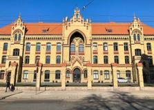 Fasada Ryski 1st szpital, jest starym cywilnym szpitalem w Latvia obraz royalty free