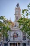 Fasada urzędu miasta budynek w centrum miasta Walencja, Hiszpania Obraz Stock