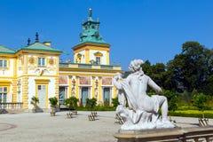 Fasada Wilanow pałac, królewska siedziba w baroku stylu i ogród, fotografia stock