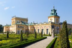 Fasada Wilanow pałac w Warszawa, Polska zdjęcie stock
