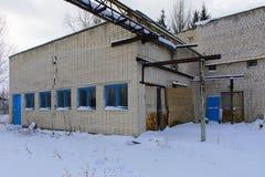 Fasada zniszczony i zaniechany piekarnia budynek Zdjęcia Stock