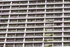 Fasadbyggnad med fönster och blommor Arkivbild