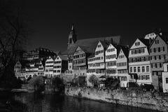 FasadCityscape av Tubingen Schwarzwald Tyskland royaltyfria foton