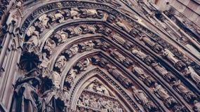 Fasaddomkyrka Notre-Dame Strasbourg Royaltyfri Bild