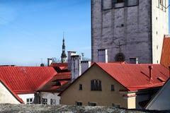 Fasade stary budynek na ulicie Tallin miasto w słonecznym dniu Fotografia Stock