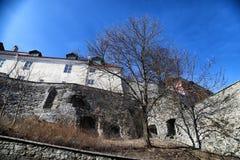 Fasade stary budynek na ulicie Tallin miasto w słonecznym dniu Obrazy Stock