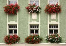 Fasaden av byggnaden som dekoreras med blommor arkivbilder