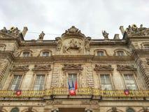 Fasaden av det Lyon hotellet de ville, Lyon gammal stad, Frankrike Royaltyfria Bilder