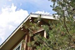 Fasaden av ett trähus på en bakgrund av himmel Fotografering för Bildbyråer