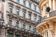 Fasader av historiska byggnader i Wien Arkivbilder