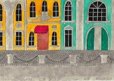Fasader av historiska byggnader vattenfärg- och blyertspennateckning Fotografering för Bildbyråer