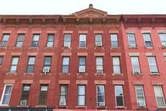 Fasader för Brooklyn brickwallbyggnad i New York Arkivfoto