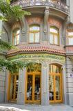 Fasadfönsterdetalj i den gamla synagogan Royaltyfria Foton