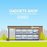 Fasadgrejer shoppar i det stads- utrymmet, försäljningen av datorer, bärbara datorer, telefoner, minnestavlor Affischtavlaadverti Arkivbild