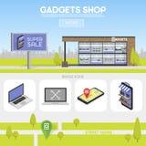 Fasadgrejer shoppar i det stads- utrymmet, försäljningen av datorer, bärbara datorer, telefoner, minnestavlor Affischtavlaadverti vektor illustrationer