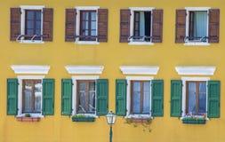 Fasadowa okno †'Gaios †'Paxos wyspa - Grecja obraz stock