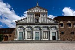 FasadSan Miniato al Monte, Florence, Firenze, Toscany, Italien Arkivbilder