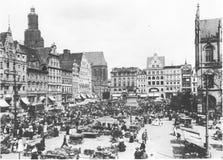 Fasady starzy historyczni tenements na Rynku Targowym kwadracie w Wrocławskim Breslau, Polska Obrazy Stock