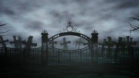 Fasanattkyrkogård, grav månsken för den grymma säger miniatyrreaperen halloween för kalenderbegreppsdatumet lyckliga holdingen sc vektor illustrationer