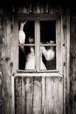 Fasaplats av en läskig kvinna Fotografering för Bildbyråer