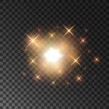 Faíscas douradas de brilho da luz da estrela Fotos de Stock