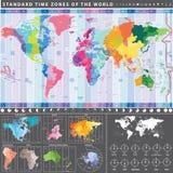 Fasce orarie standard della mappa di mondo con i continenti esclusivamente Fotografie Stock