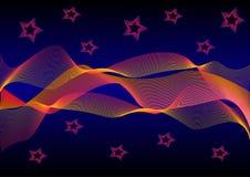 Fasci luminosi astratti le onde e le stelle Immagini Stock Libere da Diritti