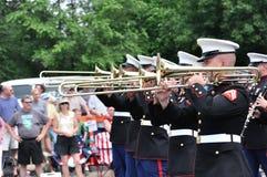 Fascia della riserva delle forze marine del USMC che gioca i Trombones Immagine Stock Libera da Diritti