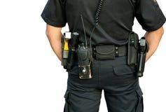 Fascia di pistola d'uso dell'ufficiale di polizia Immagini Stock Libere da Diritti