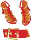 Fascia e pattini rossi illustrazione di stock