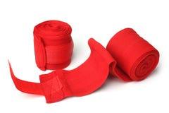 Fasciature rosse di pugilato fotografia stock