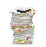 Fascicoli di documenti con un disco rigido Immagine Stock