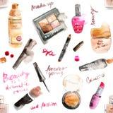 Fascinant composez les cosmétiques d'aquarelle Image stock