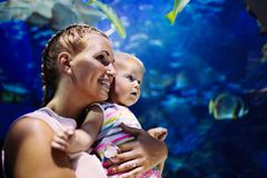 Mother and her child watching sea life in oceanarium Royalty Free Stock Image