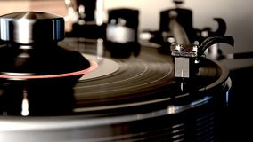Marvellous detailed close up loop shot of vintage retro vinyl album black old record player gramophone on turntable. Fascinating detailed close up loop view on stock video footage